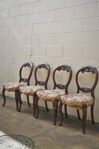 English Rosewood Balloon Back Dining Chairs - SOLD