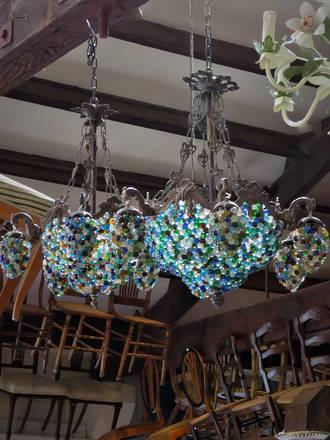 Hand Beaded European Hanging Grape Basket Chandeliers