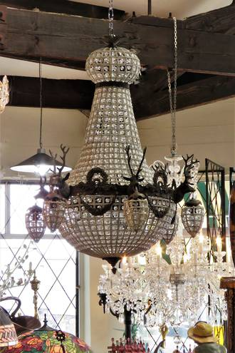 Large 6 Arm Stag Head Hanging Basket Chandelier $4950.00