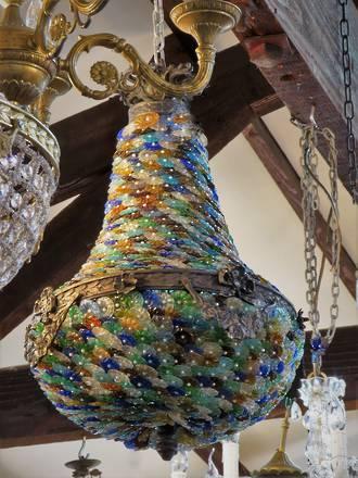European  Hand-Beaded Tutti-Fruitti Molded Glass & Pearl Basket Chandelier $2950.00