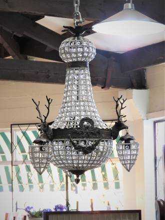 Baby Stag Head Basket Chandelier SOLD
