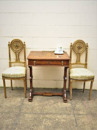 Empire Style French Antique Carved & Gilded Salon Chairs