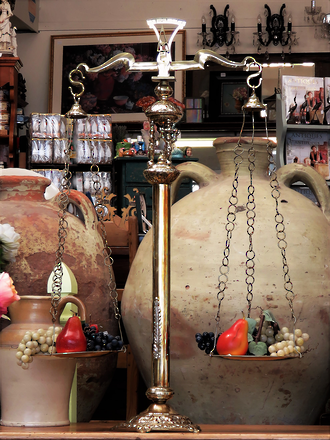 Huge Vintage Decorative Brass Balancing Scales with Cherub Motif