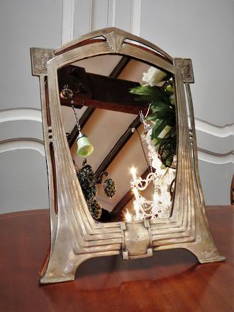 Original WMF Art Nouveau /Art Deco Table Mirror, Nickle plated Cast Metal SOLD