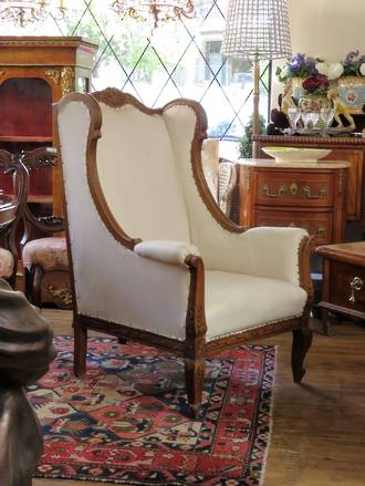 Original French Carved Wing Back Arm Chair SOLD