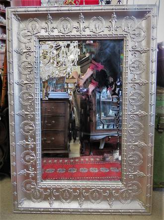Silver Pressed Metal Mirror Antique Style Large size only availabe