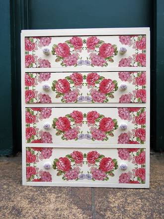 Bespoke Floral Decoupage Chest of Drawers $950.00