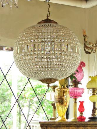 Spherical Crystal Basket Chandelier with Hand-Beaded Framework  2 x Med, 1 small Available