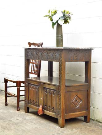 Jacobean Revival Carved Oak Sideboard $1950