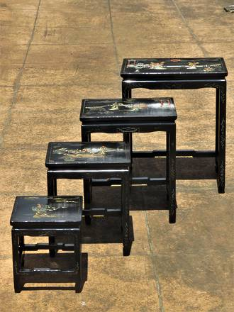 Antique Black Lacquered Chinoiserie  Nesting Tables $1095.00 set
