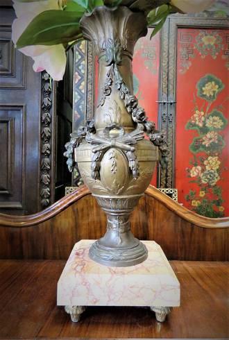 Antique French Bronze & Marble Centerpiece Vase $375
