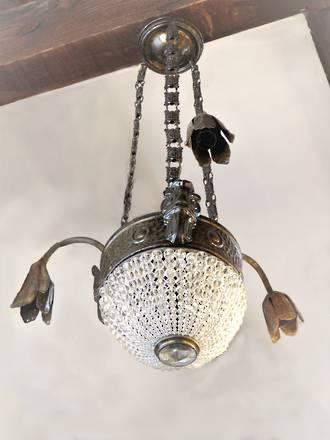 Art Deco Era Half Basket Crystal Hanging Light