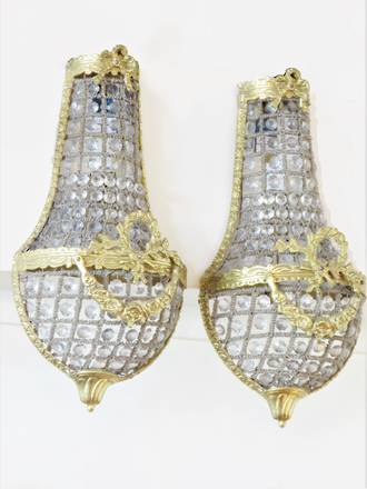 Vintage Hand Beaded French Half Basket Wall Sconces - $1250.00 pair. Two pairs available