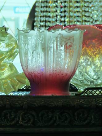 Edwardian Cranberry Glass Light shade SOLD