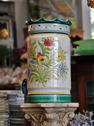 19th Century Italian Majolica Floor Vase or Umbrella Stand