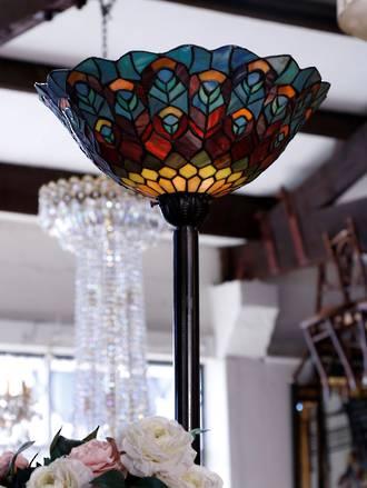 Vintage Leadlight Peacock Standard Lamp - Late 20th century Tiffany Inspired