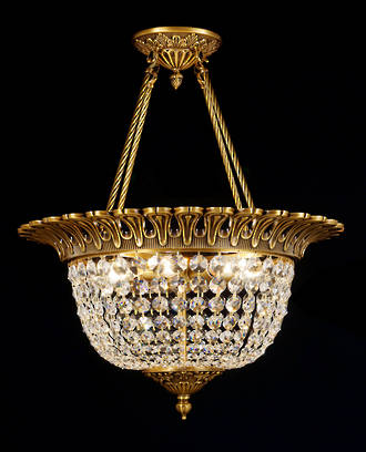 French Crystal Ceiling Light Half Basket Chandelier SOLD