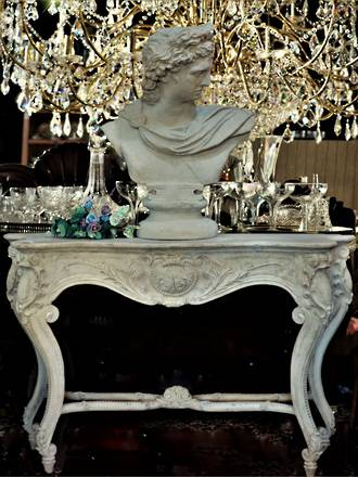 Europoean Style Faux Marble Stone Console Table