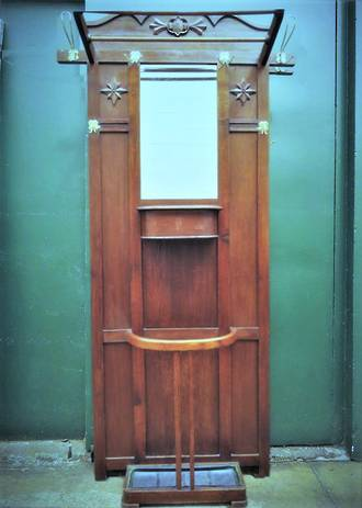 Antique Arts & Crafts Hall Stand, Coat Rack, Mirror, Umbrella Stand & Glove Box $1450.00