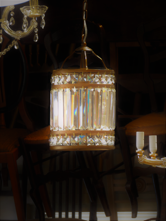 High Purity Cut Crystal Ceiling Light Lantern $950.00