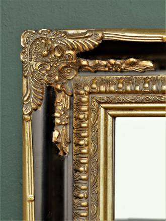 Tall & Decadent Black & Gold Bevel Edged Dressing Mirror