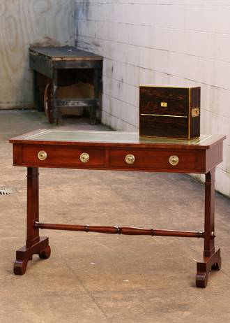 William VI Leather Top Desk or Sofa Table $1950
