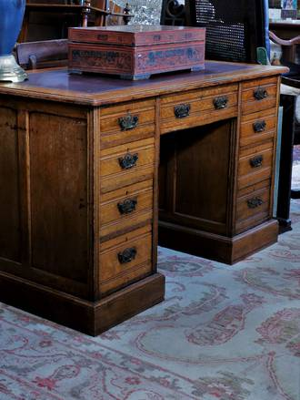 Antique English Oak Edwardian Desk with red leather circa 1910 $2750.00