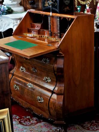 Vintage Serpentine Fancy Inlaid Bureau  Desk