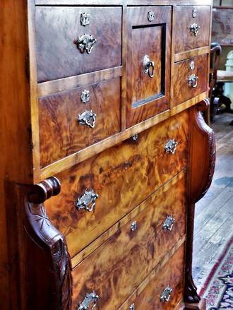 Phenomenal Mottled and Compression Kauri  Chest of Drawers - Attributed to William NorrieSOLD