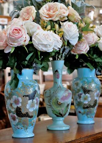 Pair Hand-Painted Enamel Blue Glass Vases with Raised Gilding $195