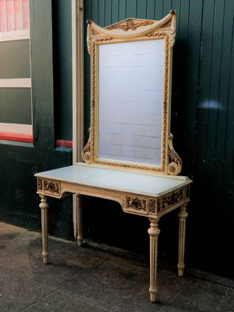 Vintage French Console & Mirror - Painted Provincial $2750