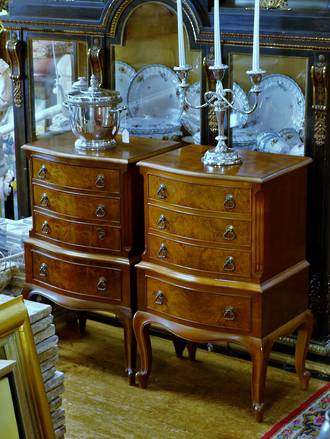 French Walnut Bedside Cabinets - Mid Century Sold