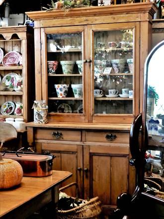 Baltic pine Bookcase or Kitchen dresser - Glazed $3950.00