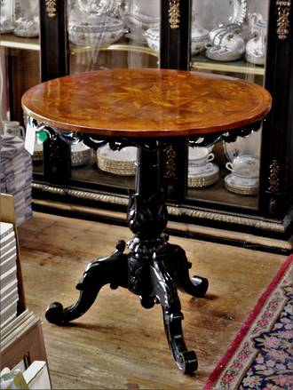 Exhibition Marquetry Side Table with Ebonized Base & Skirt - Anton Seuffert  Inspired