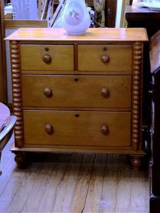 Colonial Kauri Chest of Drawers with Cotton Reel Columns