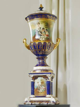 Large Decorative Lidded Urn on Pedestal $1250