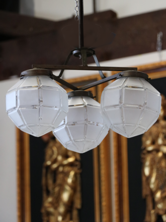 Art Deco Ceiling Light - 3 Geometric Glass Globe Shades $950