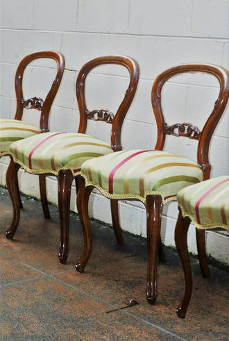 Set of 6 English Mahogany  Balloon back Dining Chairs