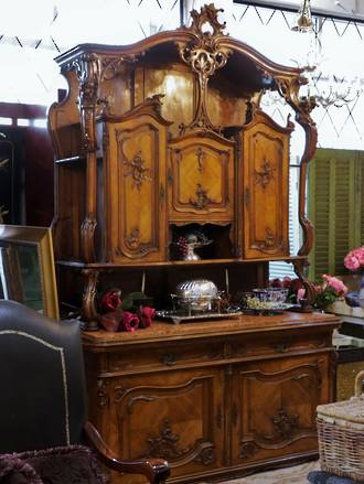 Viennese Baroque or Neo-Rococo French Walnut marble Buffet