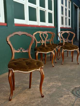 Dining Chairs - Fancy Diamond Tufted Seats x 6 SOLD