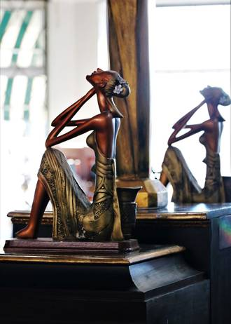 A Pair of Art Deco -Mid Century  Exotic Chalk-ware Lady Figurines $499.00 pair
