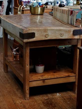 English Baltic Pine Butchers Block & Custom Built Base with shelf $2950