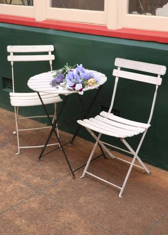 Vintage French Cafe Set - Folding 3 Piece Bistro Table & Chairs SOLD