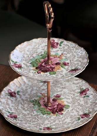 Vintage Floral 2 tier Cake Plate - James Kent