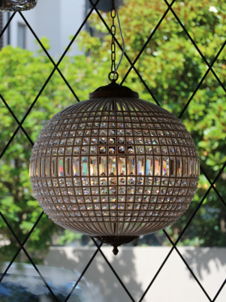 Spherical Crystal Basket Chandelier with Hand-Beaded Framework  1 x large, 2 x Med, 1 small Available