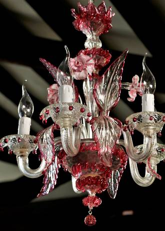 Vintage Hand-Blown Murano Cranberry Glass Chandelier $3500.00