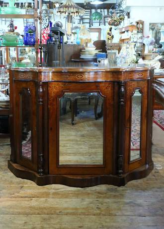 Petite Antique Bur Walnut Mirrored Credenza with Inlaid Veneers $2250