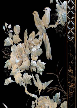 Chinese Screen - Flora & Fauna Carved Relief in Mother of Pearl on Black Lacquer SOLD