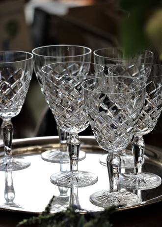 Set of Six Bohemian Hand Cut Crystal Wine Glasses Sold