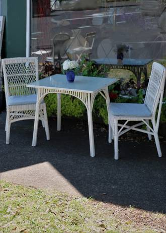 Original Art Deco Conservatory or Cafe Set - White Cane 3 piece SOLD